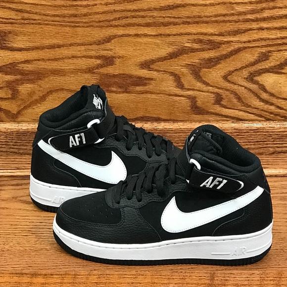 b1983d4c136 Air Force 1 Mid GS Black White Shoes Size 6Y